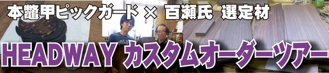 HEADWAY カスタムオーダーツアー【本鼈甲ピックガード×マスタービルダー百瀬氏 選定材】