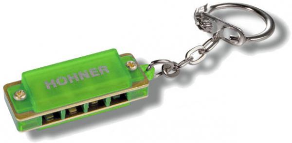 HOHNER ( ホーナー ) グリーン ミニハープ ハーモニカ キーホルダー 4穴 1オクターブ ブルースハープ型 アクセサリー 緑色 GREEN ハーモニカ red key ring