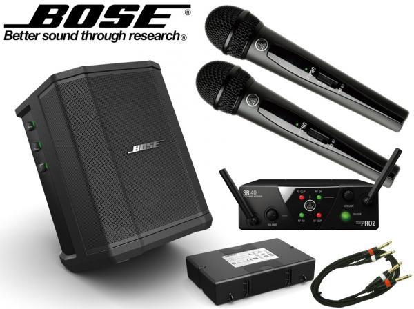 BOSE ( ボーズ ) Tシャツプレゼント! S1 Pro + AKGワイヤレスマイク2本セット ◆ 専用充電式バッテリー付 会議室 スピーチ カラオケ