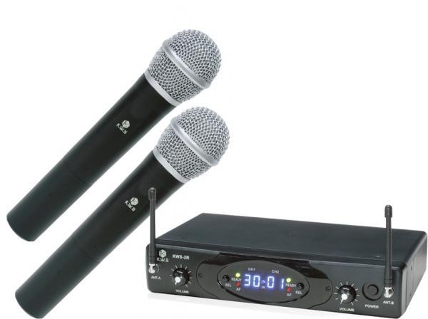 K.W.S ( by キクタニミュージック ) KWS-2H/H ◆ デュアルワイヤレスシステム ワイヤレスハンドマイク 2本+受信機のセット