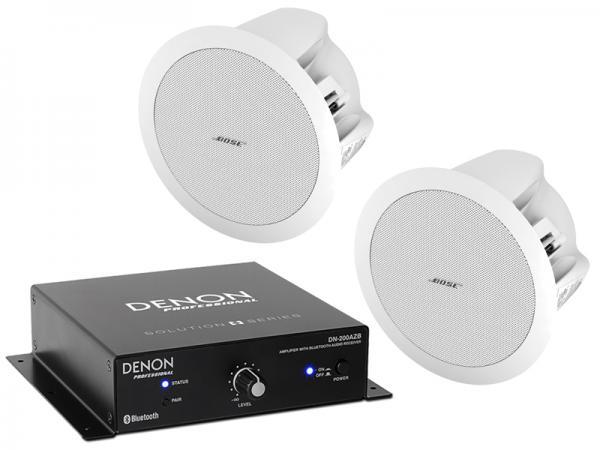DENON ( デノン ) DN-200AZB + BOSE (ボーズ) DS16F W (2台) セット ◆ 20W パワーアンプ内蔵 Bluetoothレシーバー