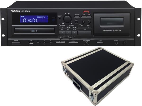 TASCAM ( タスカム ) CD-A580 と 国産3Uラックケースセット ◆ 業務用カセットレコーダー/CDプレーヤー/USBメモリーレコーダー