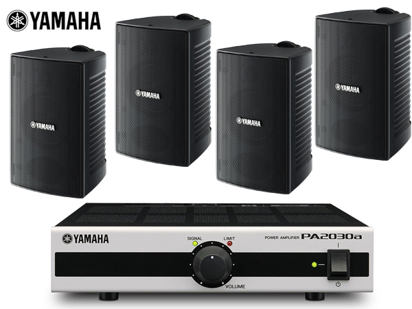 YAMAHA ( ヤマハ ) 【ご予約商品 8月下旬予定】VS4 ブラック (2ペア) + PA2030a  店舗 BGMセット  屋内/野外対応