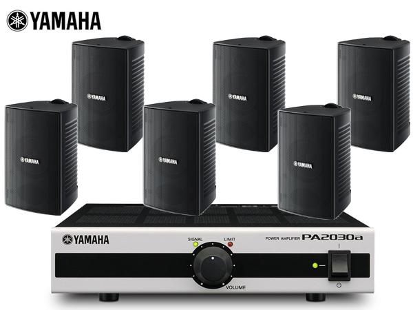 YAMAHA ( ヤマハ ) VS4 ブラック (3ペア) + PA2030a  店舗 BGMセット  屋内/野外対応