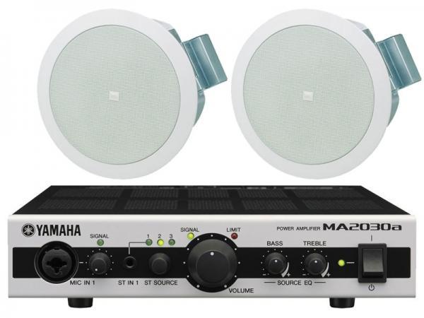 JBL ( ジェイビーエル ) Control 24C Micro 1ペア (2台) と YAMAHA ( ヤマハ ) MA2030a セット ◆ 天井埋込型スピーカーパワーアンプセット