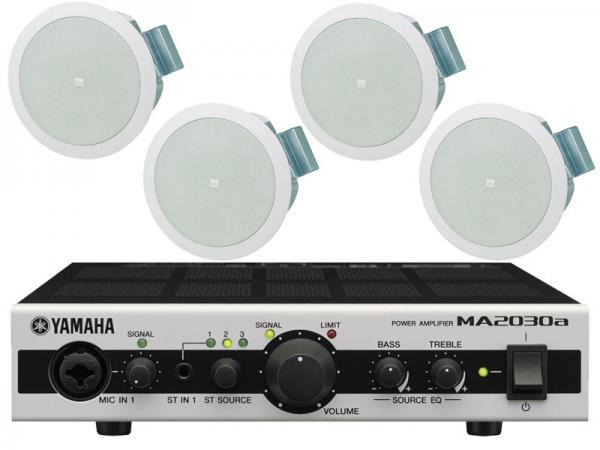 JBL ( ジェイビーエル ) Control 24C Micro 2ペア (4台) と YAMAHA ( ヤマハ ) MA2030a セット ◆ 天井埋込型スピーカーパワーアンプセット