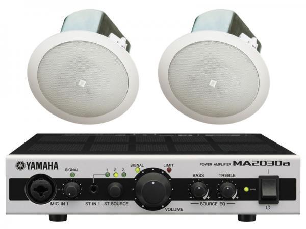 JBL ( ジェイビーエル ) Control 12C/T 1ペア (2台) と YAMAHA ( ヤマハ ) MA2030a セット ◆ 天井埋込型スピーカーパワーアンプセット