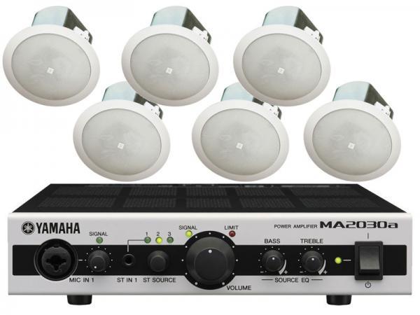 JBL ( ジェイビーエル ) Control 12C/T 3ペア (6台) と YAMAHA ( ヤマハ ) MA2030a セット ◆ 天井埋込型スピーカーパワーアンプセット