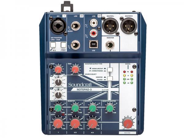 SOUND CRAFT ( サウンドクラフト ) Notepad 5  ◆ 5ch小型ミキサー PCとUSB接続でオーディオインターフェースとしても使用できます