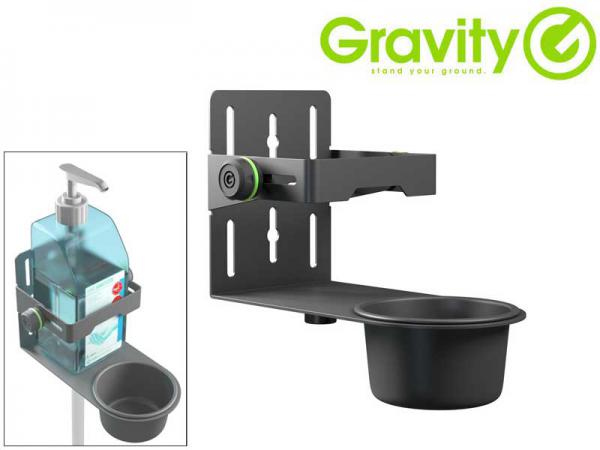 Gravity ( グラビティー ) GMADIS01B  ◆  消毒液ブラケット   マイクスタンドや壁面にも付けられる消毒液ボトルホルダーです