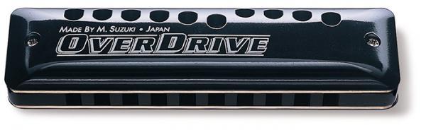 SUZUKI ( スズキ ) A調 MR-300 Over Drive オーバードライブ ブルースハープ型 10穴 テンホールズ ハーモニカ 樹脂ボディ メジャー 10ホールズ ブラック サウンドホール