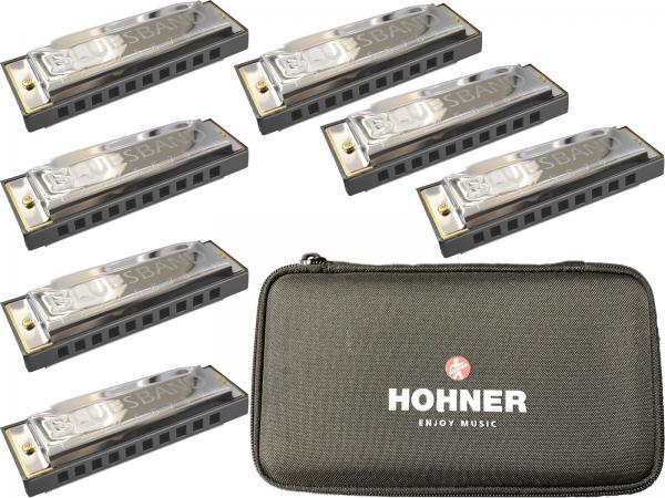 HOHNER ( ホーナー ) ブルースハーモニカ 7本 ブルースバンド セット 10穴 ブルースハープ 型 テンホールズ ハーモニカ C調 G調 A調 Bb調 D調 E調 F調 + ケース