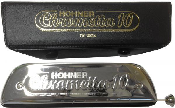 HOHNER ( ホーナー ) クロメッタ10 253/40 スライド式 クロマチックハーモニカ 10穴 2オクターブ半 初心者 リード 楽器 樹脂製 ハーモニカ Chrometta-10
