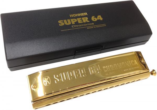 HOHNER ( ホーナー ) 送料無料 スーパー64 ゴールド スライド式 クロマチックハーモニカ 16穴 C調 4オクターブ 7583/64C 金メッキ カバー 樹脂ボディ