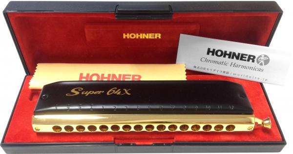 HOHNER ( ホーナー ) スーパー64X クロマチックハーモニカ スライド式 4オクターブ 16穴 7584/64 ブラックカバー 透明 樹脂ボディ Super-64X ハーモニカ