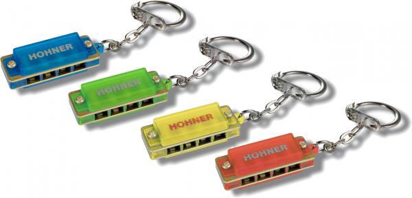 HOHNER ( ホーナー ) ミニハープ 4色 セット ミニカラーハーモニカ キーホルダー 4穴 1オクターブ ブルースハープ型 アクセサリー Blue Red Yellow Green ハープ 4個