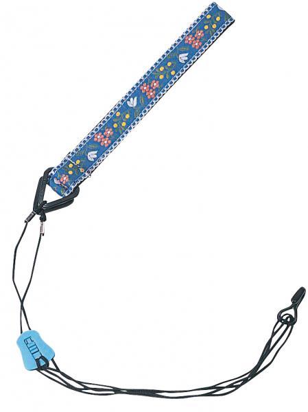 #1200/BL ブルー 花柄 ウクレレストラップ ウクレレ用ストラップ フラワー柄 サウンドホール フック付き 紐タイプ ukulele staraps 1本