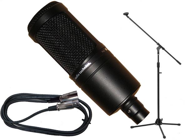 audio-technica ( オーディオテクニカ ) AT2020 三脚マイクスタンドSET(XLR-XLR) ◇ ブーム/ストレートタイプ両対応のマイクスタンドと5メートルのマイクケーブル のお得なセット