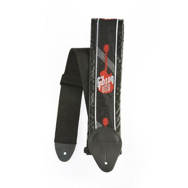 "Gibson ( ギブソン ) ASGG-700: Woven Style 3"" Strap w/ Gibson Logo - Red"