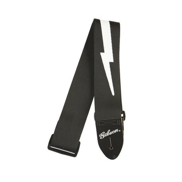 "Gibson ( ギブソン ) ASGSBL-10: Lightning Bolt Style 2"" Safety Strap - Jet Black"