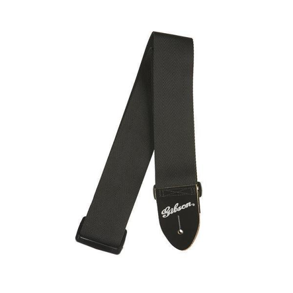 "Gibson ( ギブソン ) ASGSB-10: Regular style 2"" Safety Strap - Jet Black"