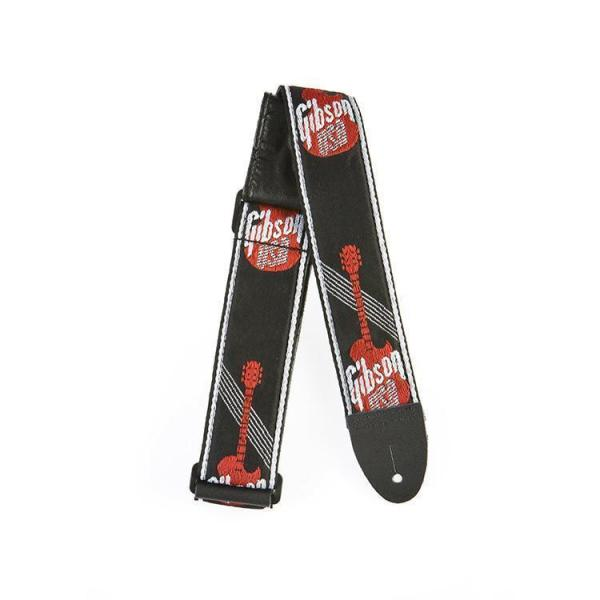 "Gibson ( ギブソン ) ASGG-600: Woven Style 2"" Strap w/ Gibson Logo - Red"