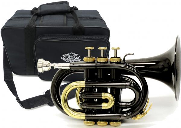 J Michael ( Jマイケル ) TR-400PCL BK ポケットトランペット ブラック 新品 アウトレット B♭ ミニ トランペット 管体 カラー 黒色 管楽器 初心者 TR400PCL BLK 一部送料追加