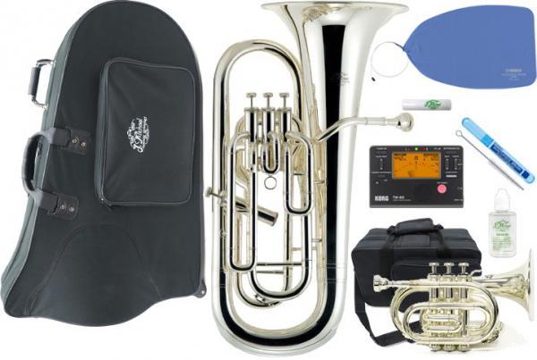 J Michael ( Jマイケル ) EU-1700S ユーフォニアム 新品 銀メッキ 4ピストン サイドアクション B♭ euphonium TR-400PSL ポケットトランペット EU1700S セット A 一部送料追加