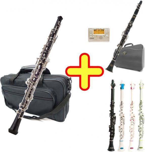 J Michael ( Jマイケル ) OB-2200 オーボエ 木製 + クラリネオ + クラリネット セット 新品 管楽器 oboe エボニー 本体 セミオート 【 OB2200 セット A 】