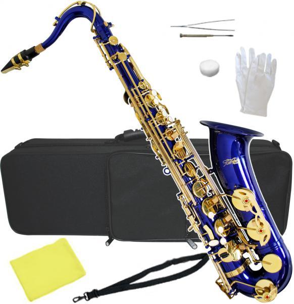 テナーサックス ブルー 新品 管楽器 本体 青 サックス ケース マウスピース付き 初心者 おすすめ 楽器 テナーサクソフォーン 【 T-90 BLUE 】