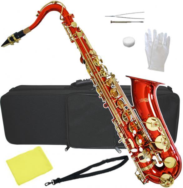 送料無料 テナーサックス レッド 新品 管楽器 本体 赤色 カラー サックス ケース マウスピース セット 初心者 楽器 テナーサクソフォーン 【 T-90 RED 】