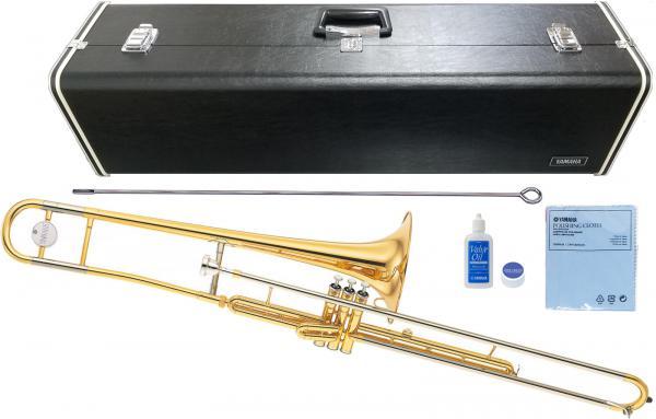 YAMAHA ( ヤマハ ) 送料無料 ピストン式 バルブトロンボーン YSL-354V ゴールド 新品 トロンボーン B♭管 細管 楽器 本体 マーチング 日本製 管楽器