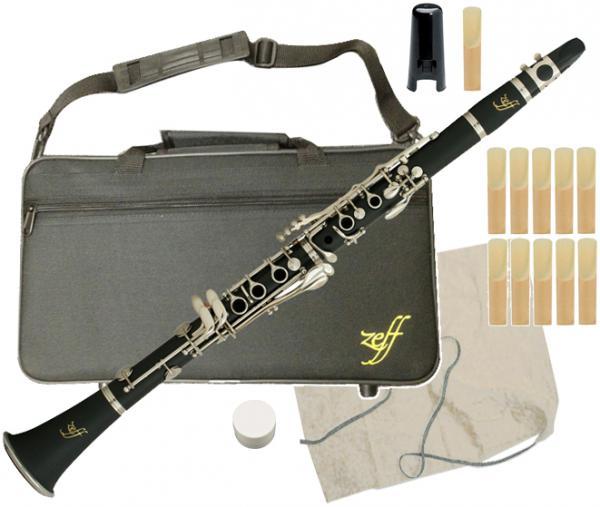 送料無料 樹脂製 B♭ クラリネット 新品 初心者 練習用 楽器 本体 マウスピース リード ケース セット ZEFF 管楽器 【 ZCL-30 JR-CL 】