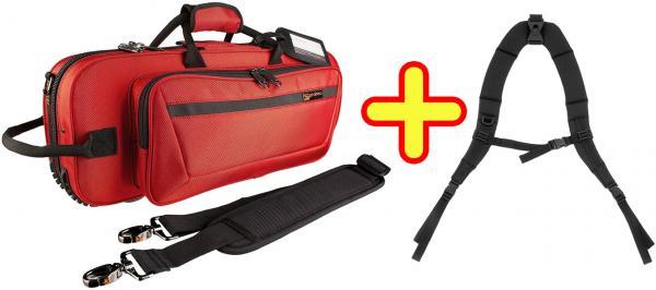PROTEC ( プロテック ) トランペットケース 赤 セミハードケース リュック ストラップ付き 管楽器 トランペット ケース レッド 管理品番 PB-301CT RED + STRAP
