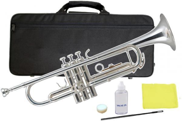 Kaerntner ( ケルントナー ) 銀メッキ トランペット KTR-35 新品 楽器 本体 ケース マウスピース付き 初心者 B♭調 金管楽器 管楽器 【 KTR35 シルバー 】