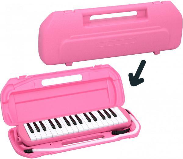 Kikutani ( キクタニ ) ピンク 32鍵 鍵盤ハーモニカ 1台 立奏用唄口 卓奏用パイプ セット 楽器 ケース付き 鍵盤楽器 MELODY MATE PIANO MM-32 PINK 一部送料追加
