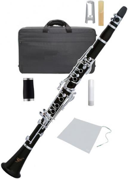 木製 クラリネット 新品 初心者 楽器 B♭ エボニー 管体 マウスピース ケース 2本 バレル セット 管楽器 【黒檀ZCL】