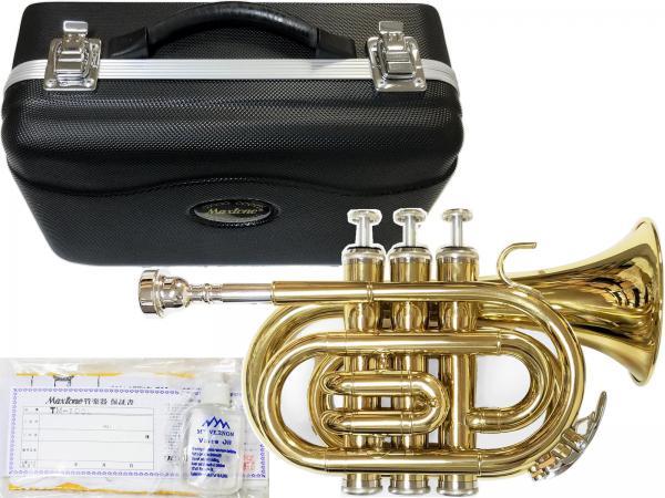 MAXTONE ( マックストーン ) 送料無料 ポケットトランペット ゴールド TM-100L 新品 楽器 ミニ トランペット B♭管 本体 ケース マウスピース付き 管楽器