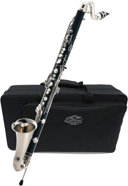 送料無料 B♭ バスクラリネット 新品 管体 ABS樹脂 楽器 Low E♭ キイ  初心者 練習用 管楽器 Bass Clarinet ケース 付き 【 バスクラ CLB 】