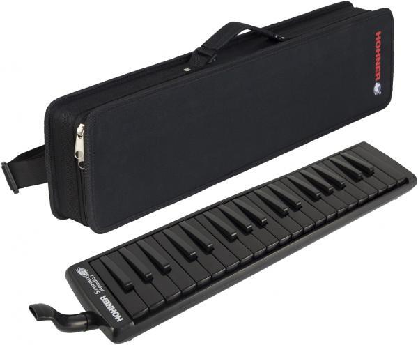 HOHNER ( ホーナー ) スーパーフォース37 メロディカ 37鍵 鍵盤ハーモニカ ブラック いわゆる ピアニカ 同等品 黒色 本体 ケース 立奏用 吹き口 ホース 付き