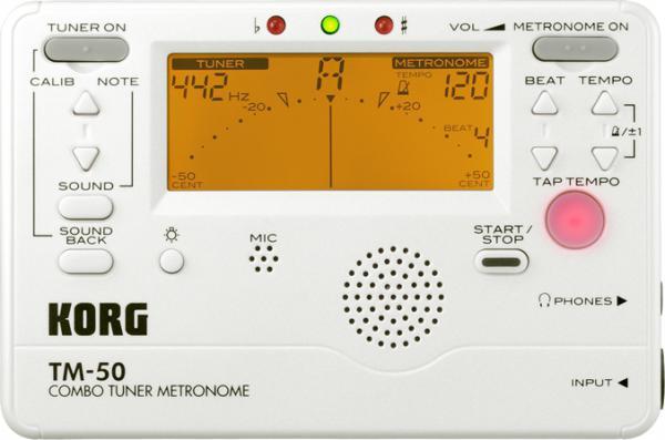 KORG ( コルグ ) TM-50-PW 同時使用 チューナー + メトロノーム 吹奏楽 定番 クロマチックチューナー 楽器 ギター ベース アコギ 管楽器 サックス ウクレレ