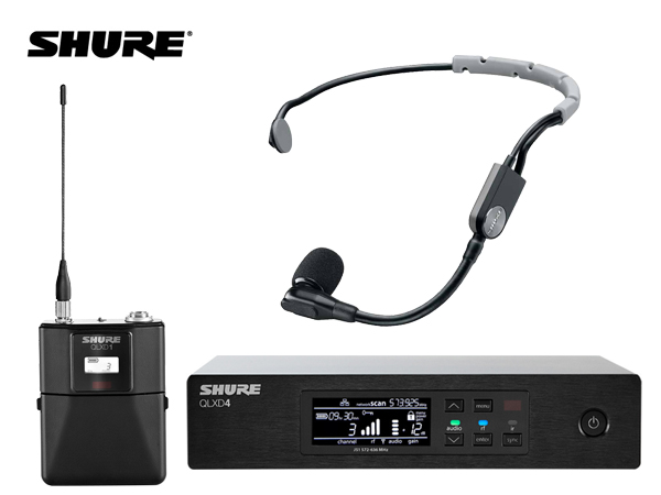 SHURE ( シュア ) QLXD14/SM35-JB ◆ ヘッドセットマイク、ボディパック型送信機 ワイヤレスマイクシステム B帯モデル