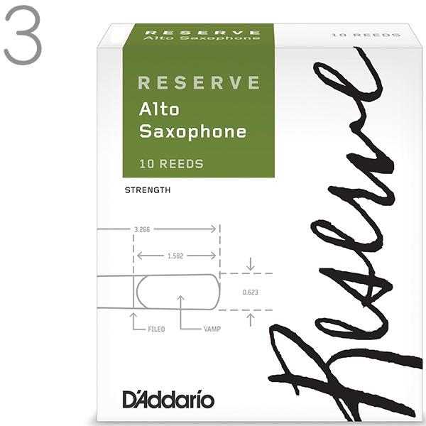レゼルヴ アルトサックス用リード RESERVE リード 10枚入り D'Addario Woodwinds 2番 3番 4番 1/2  LDADREASC3 LDADREASC3.5 他