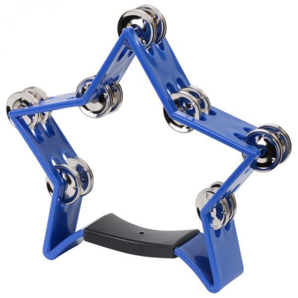 【 HMT-スター 星 ブルー 】 タンバリン 星型 25cm star プラスチック製 ダブルジングル パーカッション プラスチックタンバリン 鈴 14ジングル 青色
