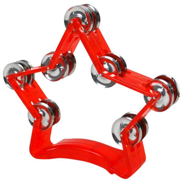 【 HMT スケルトン 星 レッド 】 タンバリン 星型 25cm プラスチック製 ダブルジングル パーカッション プラスチックタンバリン 鈴 14ジングル 赤色