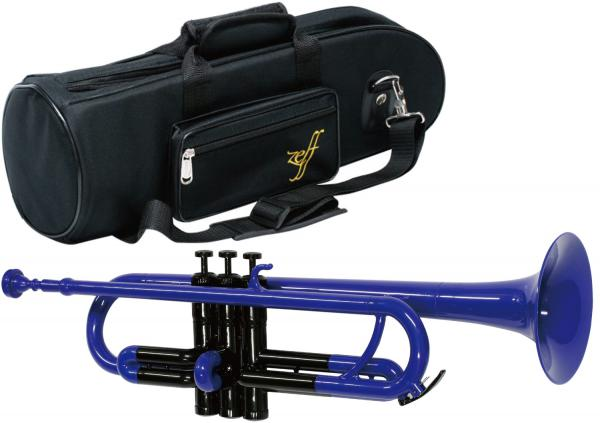 ZEFF ( ゼフ ) 調整品 ZPT-01 BLU/BLK トランペット 新品 アウトレット プラスチック製 ブルー 管楽器 B♭ 本体 青色 プラスチックトランペット trumpet