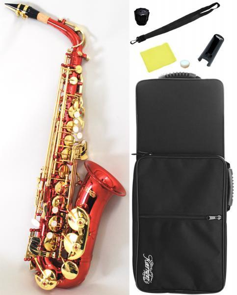 レッド アルトサックス オリジナル カラー サックス 楽器 本体 ケース セット 初心者 管楽器 スタンダード E♭ 【 アルトサクソフォン 赤色 】