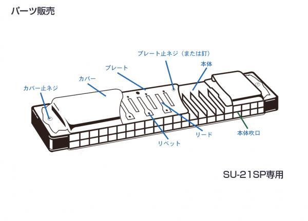 SUZUKI ( スズキ ) SU-21SP カバープレート 止めネジ 6本 + ネジの受け ナット 6個 複音ハーモニカ 3本分 パーツ 楽器 修理 ハーモニカ 部品 ネジ 【SU21SPネジ】