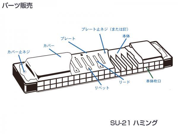SUZUKI ( スズキ ) SU-21 Humming カバープレート 止めネジ 6本 + ネジの受け ナット 6個 複音ハーモニカ 3本分 パーツ 修理 ハーモニカ 部品 ネジ 【SU21Hummingネジ】