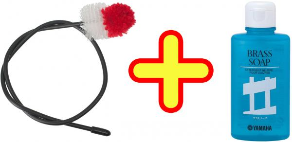 YAMAHA ( ヤマハ ) サックス ネック 洗浄 セット サクソフォン ネックブラシ SNB2 + BS2 ブラスソープ ネック内部 クリーニング ワイヤー付き ブラシ お手入れ